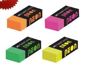 Ластик NEON, набор цветов, в картонной коробке, 30 шт.