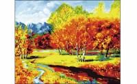 Холст с красками 40х50 см по номерам. ОСЕННЯЯ РОЩА (Арт. B794) наборы для рисования цветной раскраски по номерам осенняя рапсодия