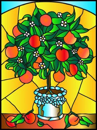 Витражи. Апельсиновое дерево - картина - витраж (HG001 )