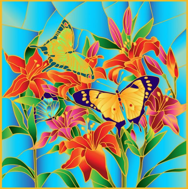 Витражи. Бабочки - картина - витраж (HS002)