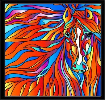 Витражи. Огненная лошадь - картина - витраж (HS004)