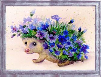 Картины из пайеток. Цветочный еж - мозаика из пайеток (CME005)