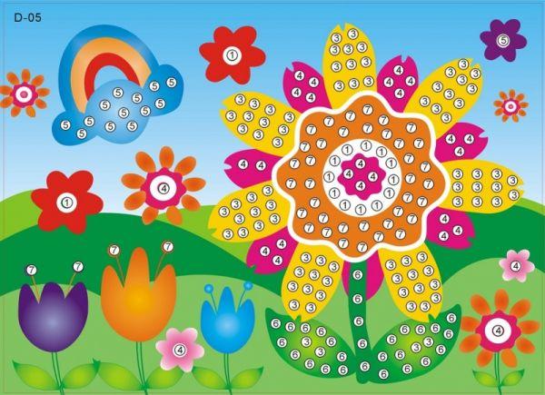 Мозаика-стикеры. Яркий цветочек - мозаика-стикеры стразами (D005)