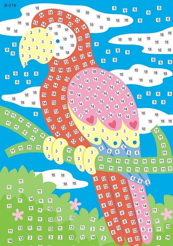 Мозаика-стикеры. Попугай-мозаика-стикеры (B016)