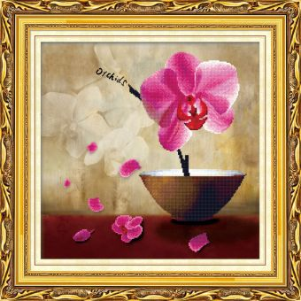 Мозаичные картины. Цветок орхидеи - мозаичная картина (80114)