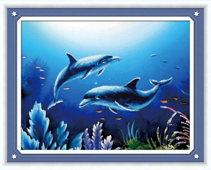 Мозаичные картины. Дельфины - мозаичная картина (80228)