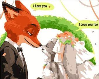 Раскраски по номерам ТМ Menglei. Свадьба Ника и Джуди в Зверополисе - картина по номерам (MG619)