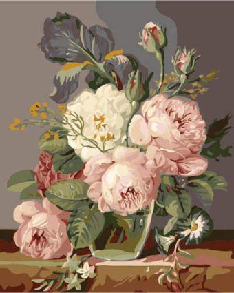 Раскраски по номерам ТМ Menglei. Букет в пастельных тонах - картина по номерам (MG577)