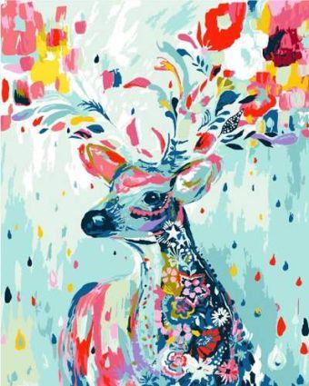 Раскраски по номерам ТМ Menglei. Цветной олень - картина по номерам (MG592)
