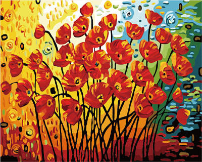 Раскраски по номерам ТМ Menglei. Солнечные маки - картина по номерам (MG582)