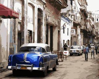 Раскраски по номерам ТМ Menglei. Синий ретро - картина по номерам (MG2043)