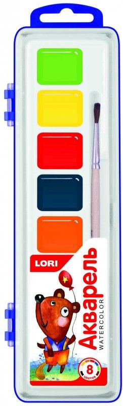 Акварельная краска в пластм уп (узкая) 8 цветов, с/к