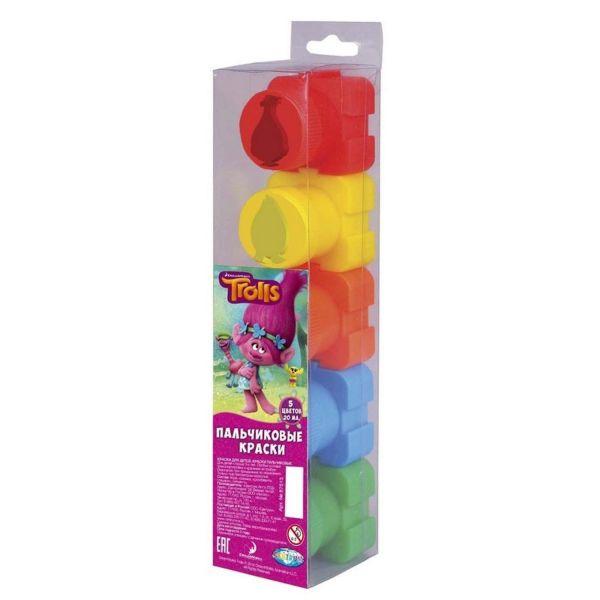 """Пальчиковые краски """"Тролли"""", 5 цветов*20 мл, в пластиковой коробке 87513"""