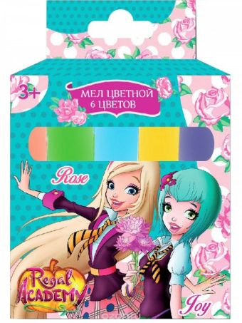"""Мел цветной , 6 шт. """"Королевская академия"""", в картонной упаковке, с европодвесом 88250"""