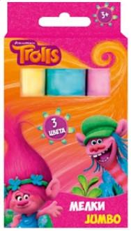 """Мелки цветные """"Тролли"""", JUMBO, 3 штуки 87546 - фото 1"""