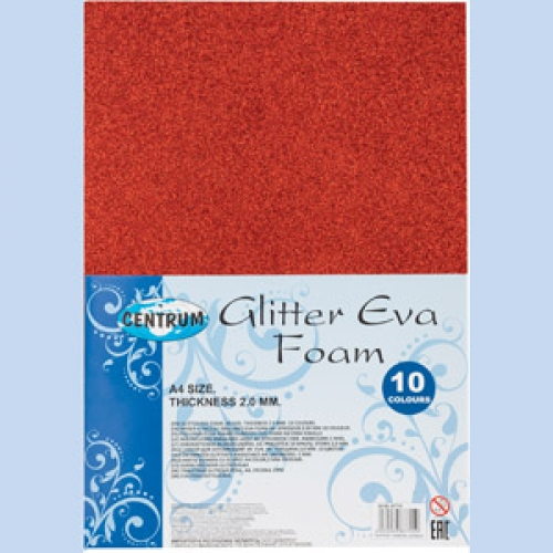 Набор декоративной бумаги EVA GlITTER, самоклеющаяся, для детского творчества (аппликации), толщина 2,0 мм, формат А4, 10 цветов 87715