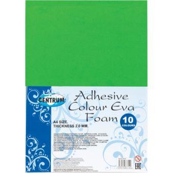 Набор декоративной бумаги EVA самоклеющаяся, для детского творчества (аппликации), толщина 2,0 мм, формат А4, 10 цветов 87714