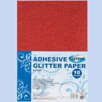Набор декоративной бумаги GlITTER самоклеющаяся с блестками, для детского творчества (аппликации), формат А4, 10 цветов 87718
