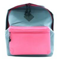 Рюкзак мягкий серо-розовый, 1 отделение, на молнии с двумя бегунками, большой карман на молнии снаружи, мягкие наплечники, без подкладки 88264
