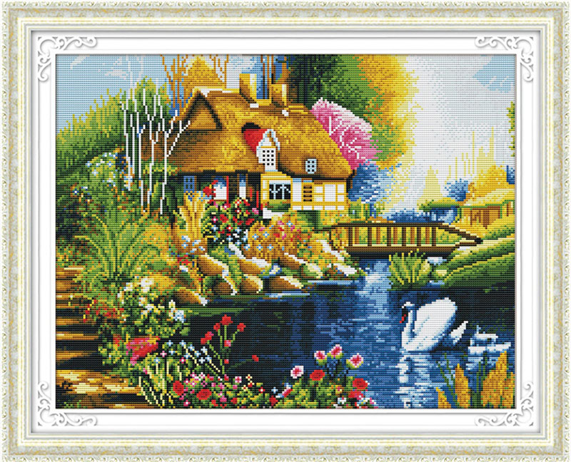 Мозаичные картины. Дом у пруда (MO036)