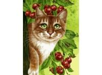 Живопись на холсте 30*40 см. Кот на вишнёвом дереве (149-AS)