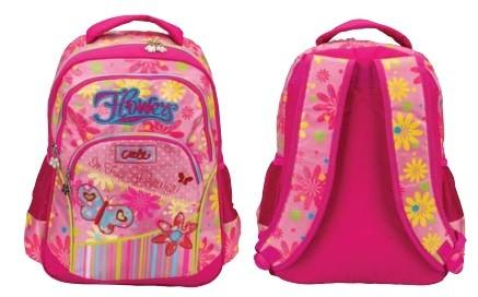 Рюкзак для девочек  БАБОЧКИ, размер: 390*290*140 мм, материал полиэстер, уплотненная спинка, широкие мягкие регулируемые лямки, 2 отделения, 2 боковых