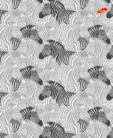 "Папка-тетр 7БЦ кольц мех со смен блок 2*50л А5 кл 8629-EAC глянц лам ""Черно белая (зебры)"""
