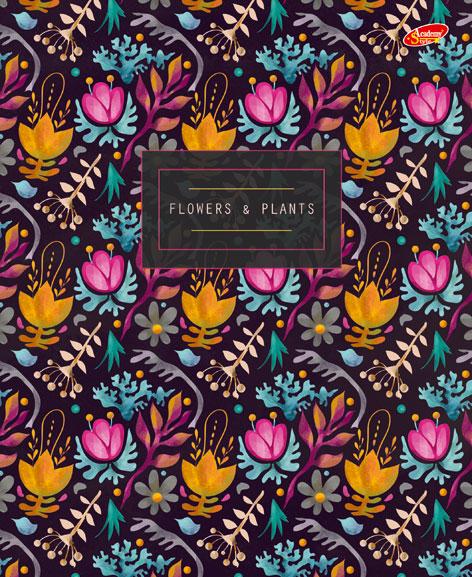 """Папка-тетр 7БЦ кольц мех со смен блок 2*50л А5 кл 8637-EAC глянц лам """"Flowers and Plants"""""""
