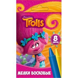 """Мелки восковые """"Тролли"""", 8 цветов, в картонной упаковке 87550"""