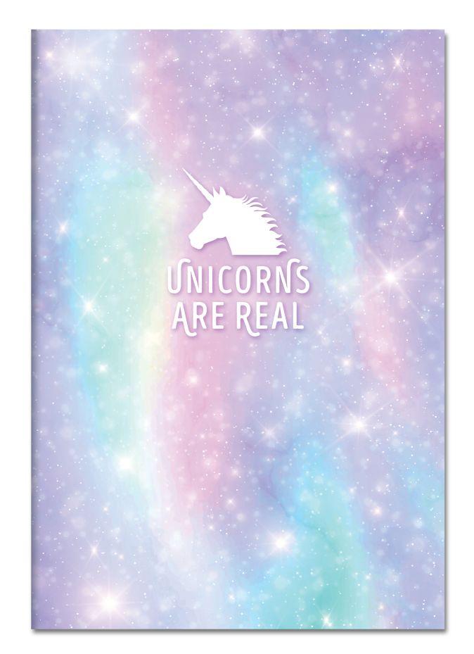 Тетрадь для записей. Unicorns are real, 150х210мм, мягкая обложка, 48 л.