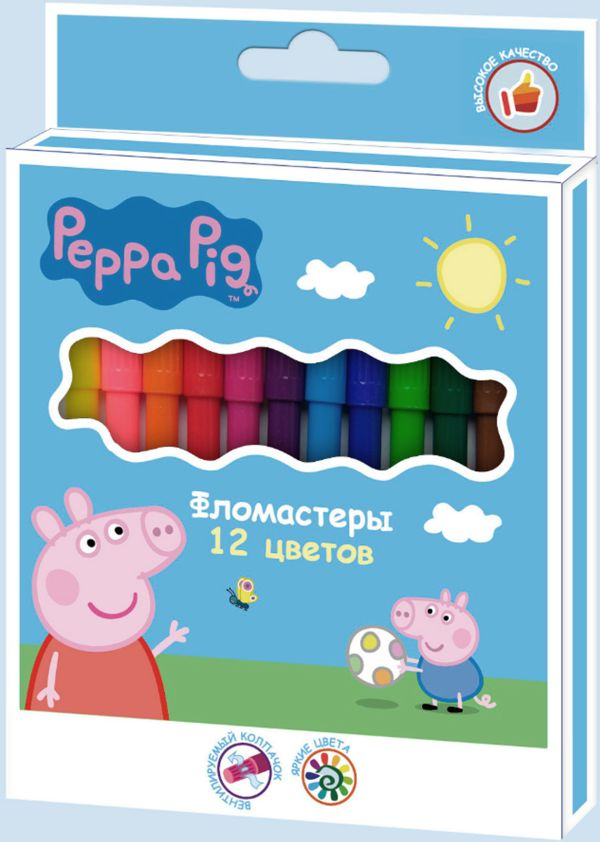 "Фломастеры 12 цветов ""Peppa Pig"""