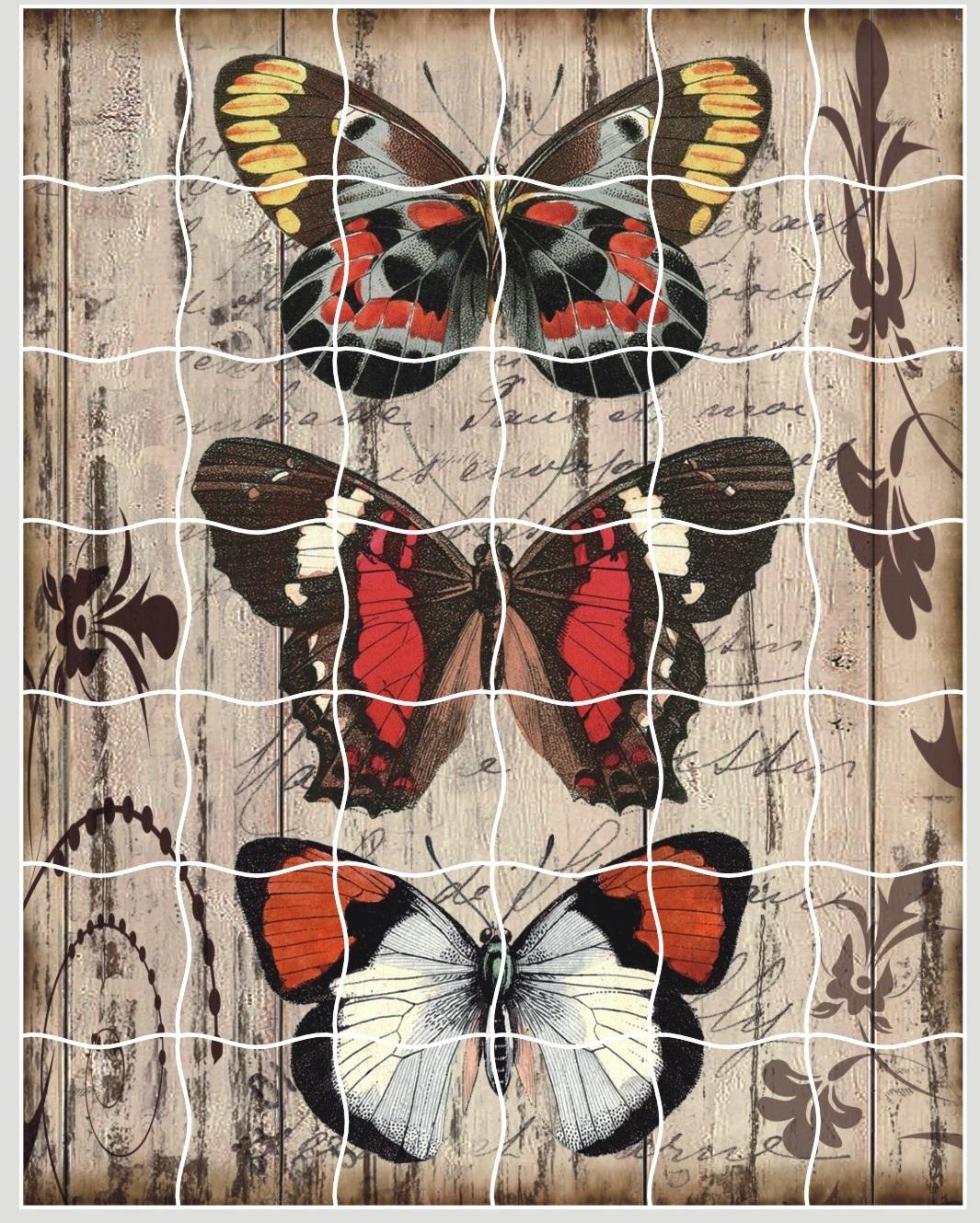 Мозаика-стикеры. Панно из бабочек - пазлы-стикеры (XD02)