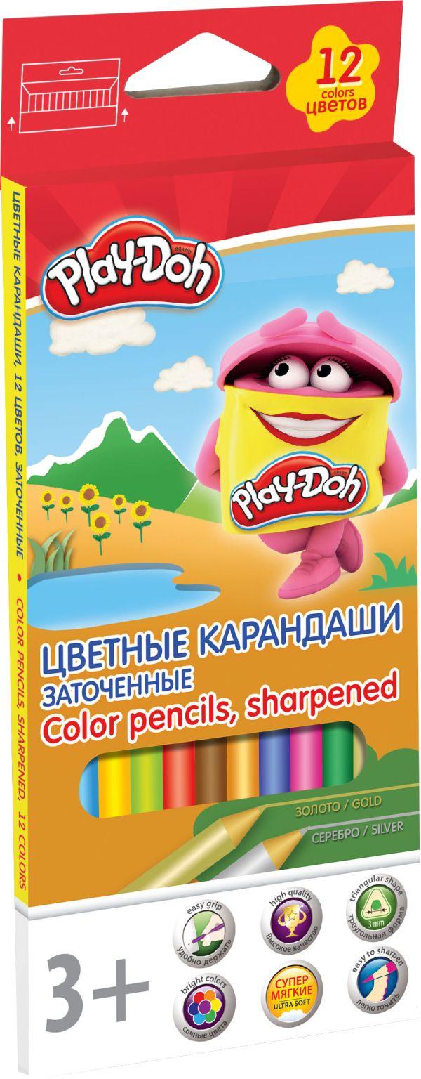 PDEB-US2-3QP-12 Цв. Карандаши, 12 шт 12 цв.Размер: 21,2 х 8,7 х 0,9 см. Play Doh