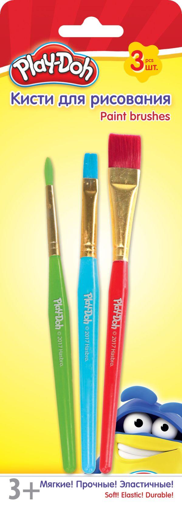PDEB-US2-QBR-BL3 Кисти для рисования. Набор 3 шт.Размер: 22,5 х 8 х 1 см. Play Doh