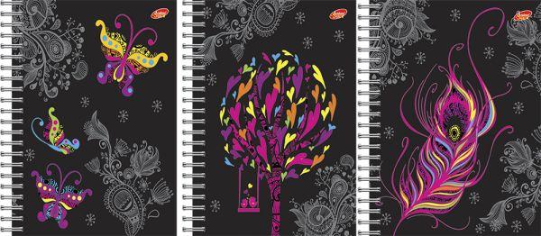Тетр 96л Wсп А5 кл 7874/3-EAC пластик, На черном: бабочки, дерево, перо