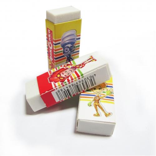"""Ластик из синтетического каучука """"Фиксики"""", размер: 56*21*10 мм, белый, прямоугольный, в дисплее 24 шт 88418"""