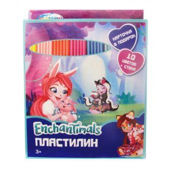 """Пластилин 10 цветов """"Enchantimals"""", картинка """"Enchantimals"""", 200 гр,  стек пластиковый, картонная упаковка с европодвесом 88616"""
