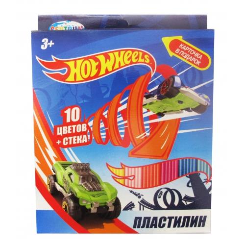 """Пластилин 10 цветов """"Hot Wheels"""", картинка """"Hot Wheels"""", 200 гр,  стек пластиковый, картонная упаковка с европодвесом 88619"""