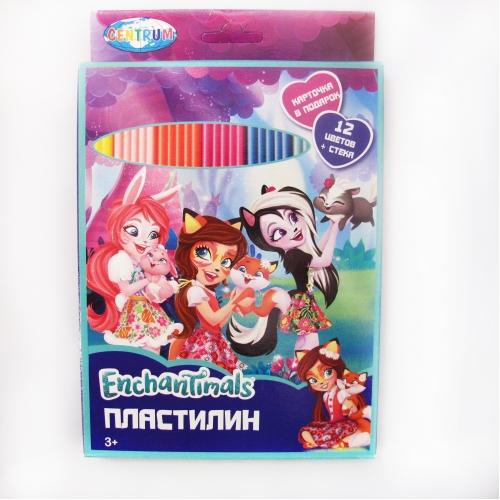 """Пластилин 12 цветов """"Enchantimals"""", картинка """"Enchantimals"""", 240 гр,  стек пластиковый, картонная упаковка с европодвесом 88617"""