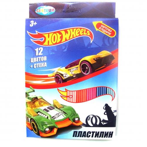 """Пластилин 12 цветов """"Hot Wheels"""", картинка """"Hot Wheels"""", 240 гр,  стек пластиковый, картонная упаковка с европодвесом 88620"""