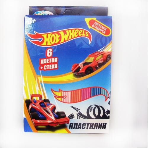 """Пластилин 6 цветов """"Hot Wheels"""", картинка """"Hot Wheels"""", 120 гр,  стек пластиковый, картонная упаковка с европодвесом 88618"""