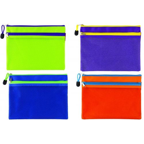 Папка-конверт на молнии, размер А5, материал полиэстр, для хранения и перевозки документов с 2-мя молниями, цвета: ассорти 87796