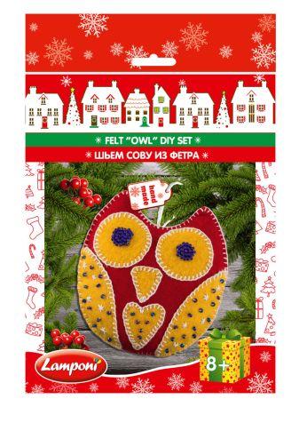 Lamponi - LMRA-UA1-NYFODS-H1 ШЬЕМ СОВУ ИЗ ФЕТРА. Состав набора: Фетр двух цветов с нанесенной выкройкой, нитки для рукоделия, калиброванный бисер (Чехия), игла обложка книги