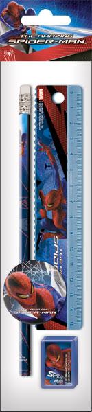 SM4U-12S-5020-H Набор канц. в ПП пакете с подвесом: линейка 15 см, карандаш, точилка, ластик 23х5,2х1,5 см Spider-man
