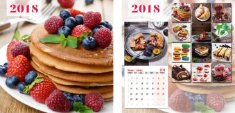 Календарь настенный 2018 скрепка 12л 195*195 8863-EAC Десерты