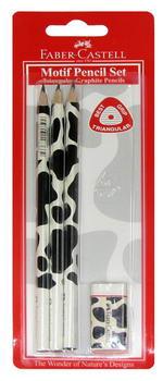 Чернографитовый карандаш TRIANGULAR с цветным мотивом (корова), в блистере, 3 шт. + ластик