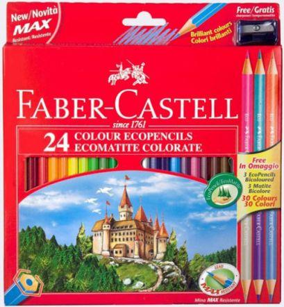 Цветные карандаши Замок, в карт. промоупаковке, 24 шт + 3 двухцветных карандаша+точилка - фото 1