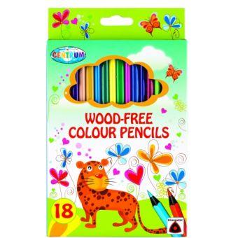 Карандаши цветные Giraffe 177 мм, 18 цв., пластиковый трехгранный корпус, в картонной упаковке с европодвесом 86143