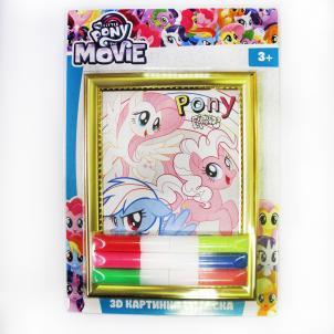 "Набор объемная картинка 3D ""My Little Pony"" , в наборе:рамка, картинка-трафарет, песок с клеем 6цв.* 5,5 гр.) 88773"