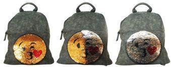 """Рюкзак """"Смайлы"""", материал искусственный нубук (полиуретан),  одно основное отделение на молнии, внутренние карманы для мелочей, наружный передний карм"""